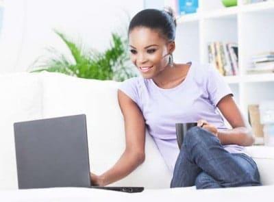 Black Woman Using a Laptop
