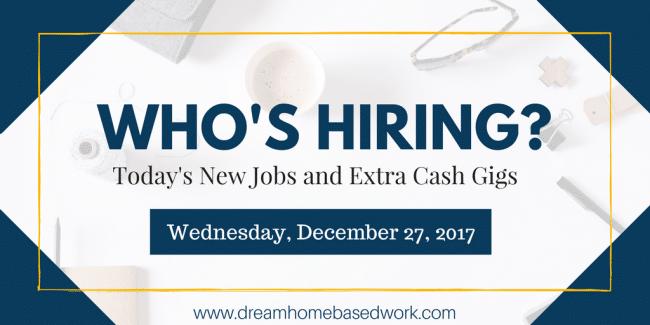 Home Based Job Leads for December 27, 2018