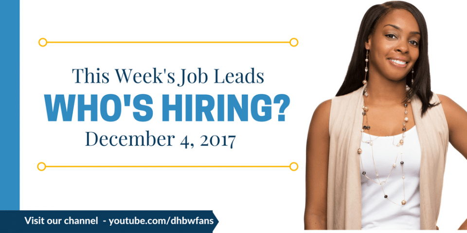 This Week's Job Leads for December 4, 2017