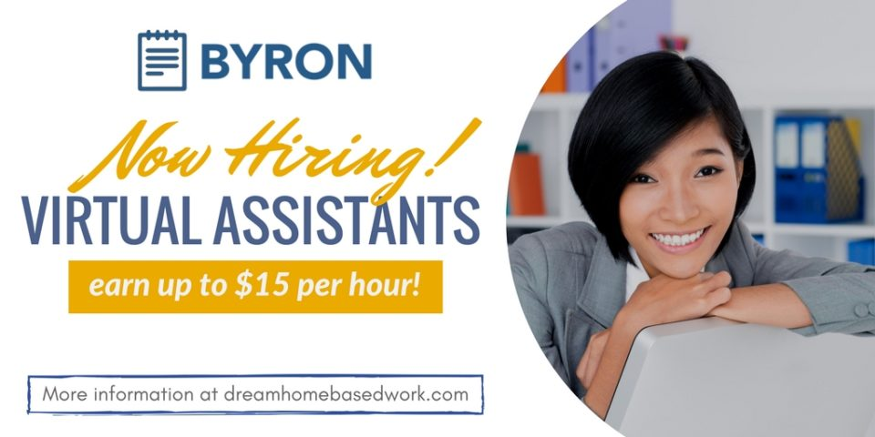 Virtual Assistants earn up to $15 Per Hour with Byron