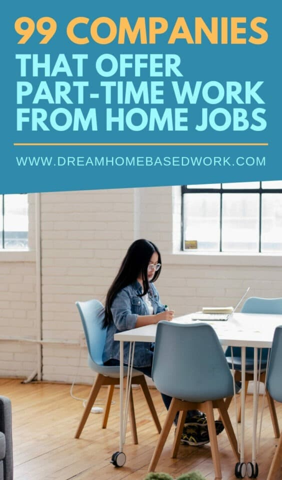 Best 99 Companies Offering Part Time #WorkfromHome Jobs. Part-time jobs are ideal for #stayathomemoms, #entreprenuers, #freelancers, #wahms, and more! www.dreamhomebasedwork.com
