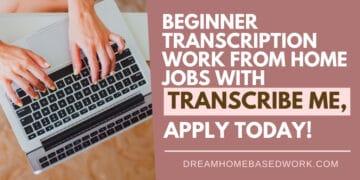 Beginner Online Work at Home Transcription Jobs at TranscribeMe fb
