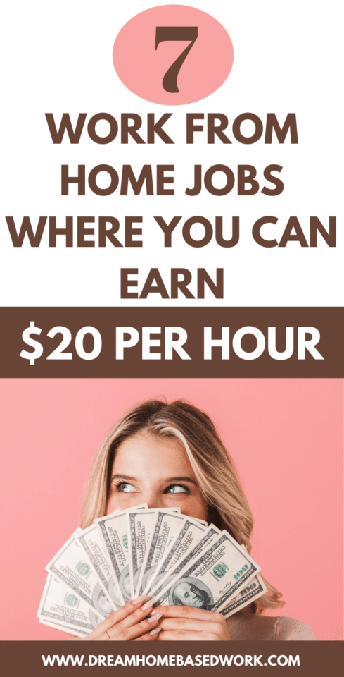 Wondering which work-at-home jobs offer a decent hourly wage. Here are 7 legit work from home jobs where you can make $20 per hour or more!